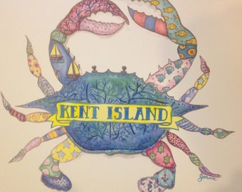 Kent island colorful crab print