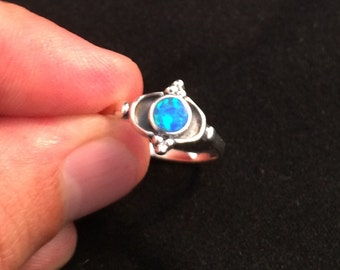 Lab Opal Sterling Silver Ring Size 7