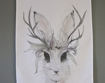 Wild Rabbit Tea Towel