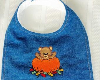 Fall Baby Bib - Teething Bib - Denim and Terry Cloth Baby Bib with Embroidered Bear and Pumpkin - Velcro Closure - Denim Baby Bib