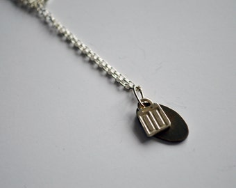 Long necklace etched and oxidised silver