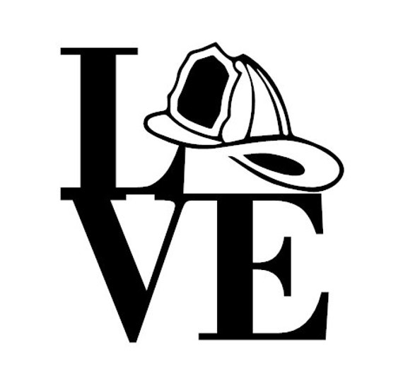 Download Firefighter Love Decal/Fireman's Helmet Decal/I Love