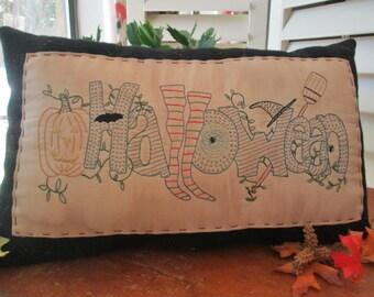 Happy Halloween Stitchery  - Handmade Decorative Pillow
