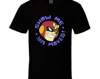 "Super Smash Bros. / F-Zero - Captain Falcon ""Show Me Ya Moves!"" - Black T-Shirt"