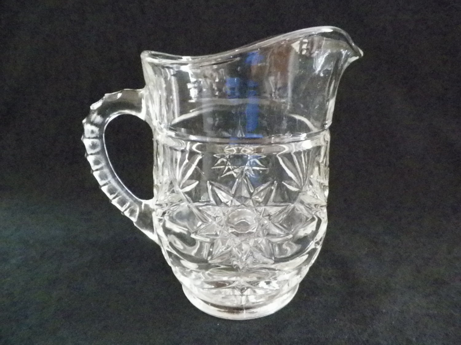 Small clear pressed glass pitcher starburst by jsvintagevillage - Starburst glassware ...