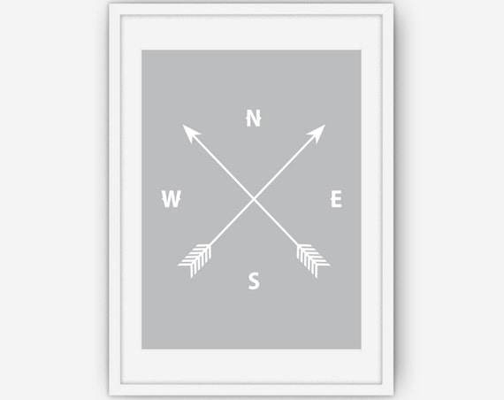 Grey Arrow Wall Decor : Grey arrow and compass print wall art