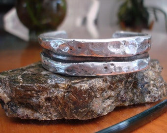 Rustic Aluminum Cuff.  Hammered and Burnished. 3.5mm thick and 19.5mm wide.