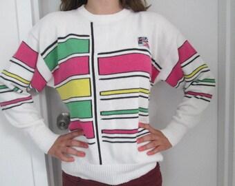 80's Head tennis sweater preppy striped cotton campus sweater