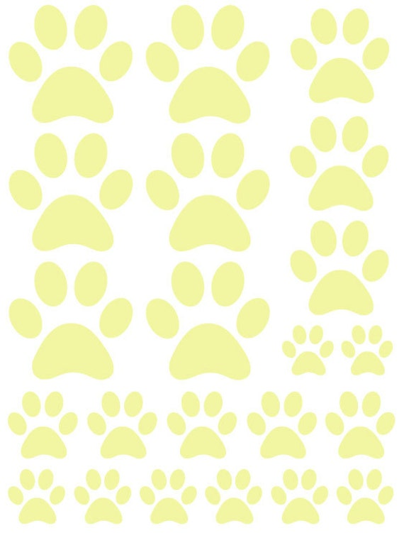 44 Pale Yellow Paw Prints Vinyl Wall Decals Stickers Bedroom Teen Kids Baby Dorm Room Cat Dog Pet Removable Custom Easy to Install Wall Art