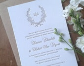 Letterpress Wedding Invitations, Rustic, Traditional, Wreath, Etienne sample