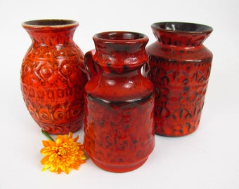 Vintage ceramic set of 3 vases / red / 503 14, 1719 15 and 92 14 | West German Pottery | 60s