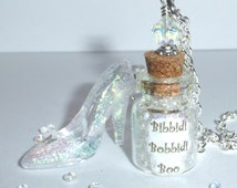 Cinderella Glass Slipper Bibbidi Bobbidi Boo Bottle Pendant Necklace ~ Disney Princess Butterfly