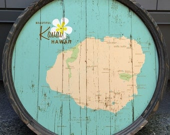 Vintage hawaiian sign wood mounted kauai