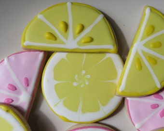 Yellow and Pink Lemon sugar cookies