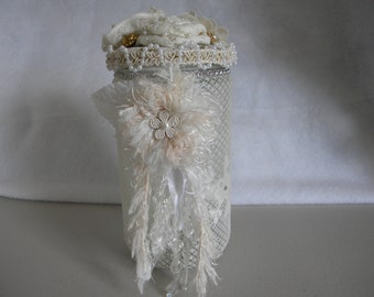 Shabby Chic Lace Altered Potpourri Jar Tealight Candle Holder Victorian Home Decor Fabric Flowers Pearls Wedding Decor Hand Decorated OOAK