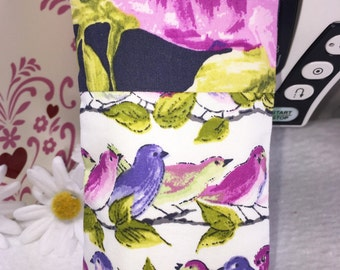 Colorful Songbirds Glasses Case, Eyeglass Case, Sunglass Pouch, Pink Floral Slip Style, Sunglasses Case, Eyeglasses Case