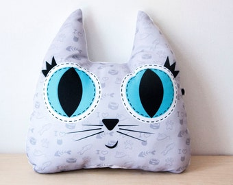 Big cat pillow, Cat shaped pillow, cat illustration printed on fabric