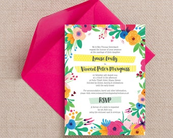 Bright Floral Fiesta Wedding Invitation & RSVP with envelopes