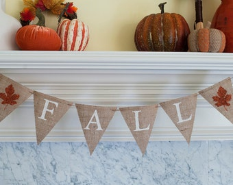 Fall Burlap Banner, Fall Banner, Fall Decor, Fall Maple Leaf Banner, Fall Photo Prop, B092