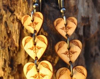 Laser Engraved Wooden Earrings--Hearts