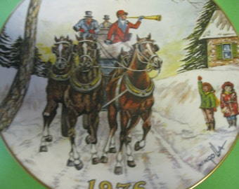 Collector Plate Gorham Fine China, Horses Christmas Dom Mingolla 1976 Made in USA