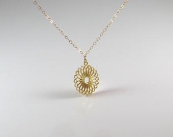 Mandala gold necklace , Lotus flower shape gold necklace , Mandala gold filled necklace , Flower gold, silver mandala , new age jewelry
