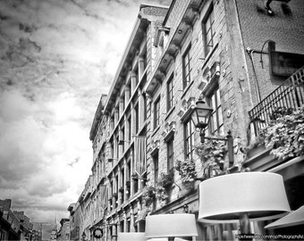 Old Montreal Photography, Travel Photography, Black and White Photo, Paris Style Architecture, Wall Art, Urban Decor, Rustic Wall Art