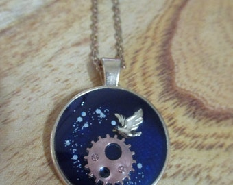 Handmade Resin Jewelry - In the dark night - Necklace - with gift box.