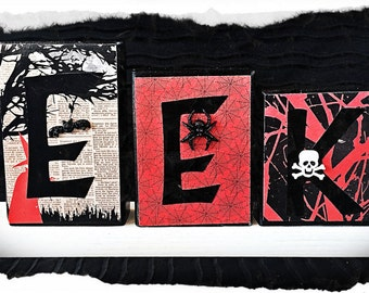 "Halloween ""EEK"" Wood Block Set!"