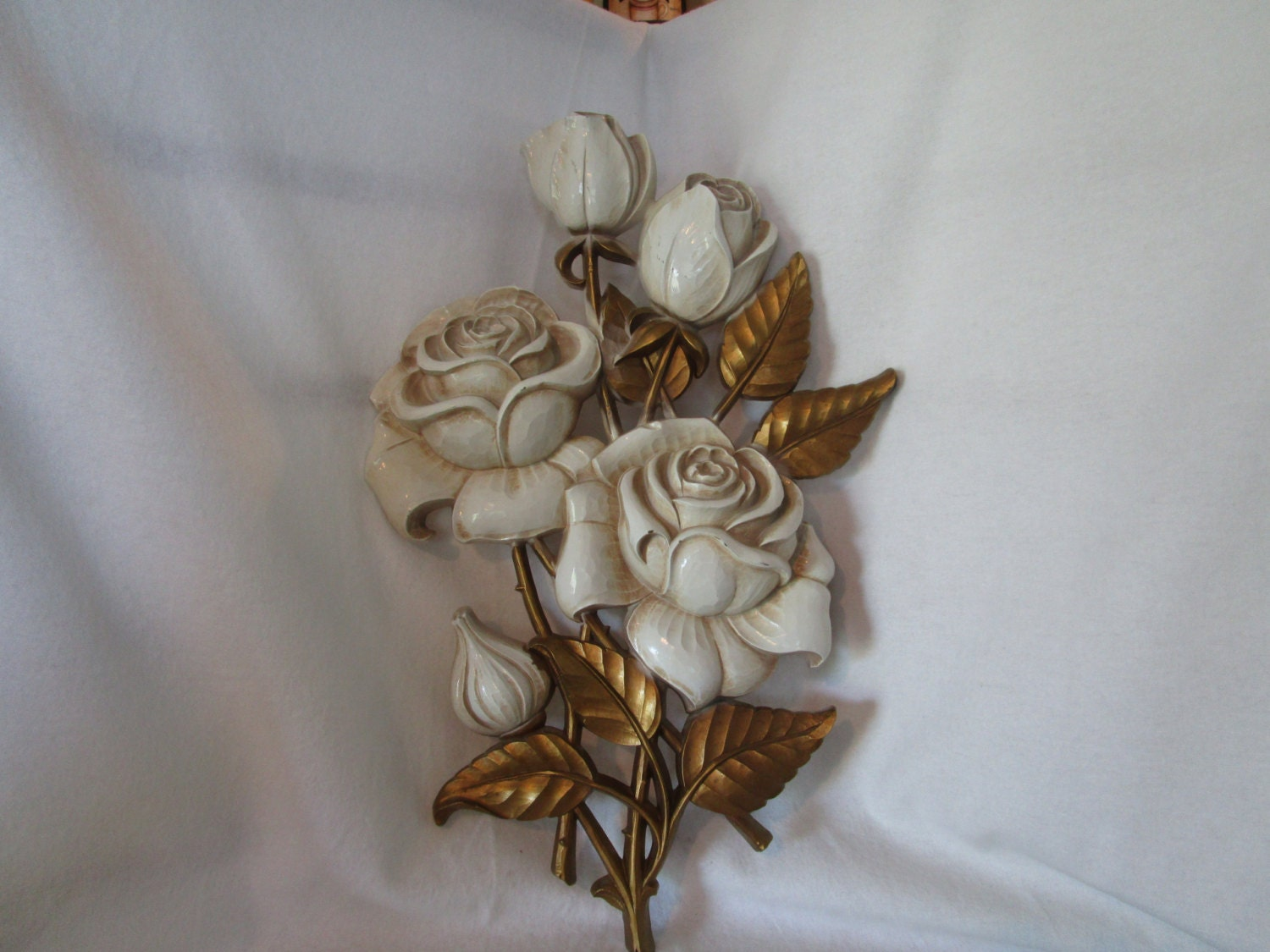 Wall decor wall hanging white rose decor rose wall decor for White wall decor