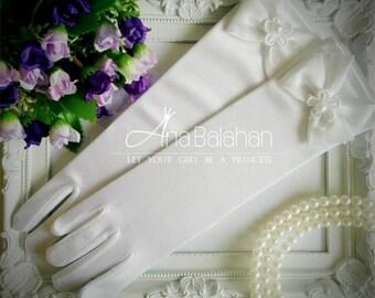 SALE! Satin gloves, White gloves, Wedding gloves, Flower girl gloves, Girl satin gloves, Girls ivory gloves with Bow, LONG gloves