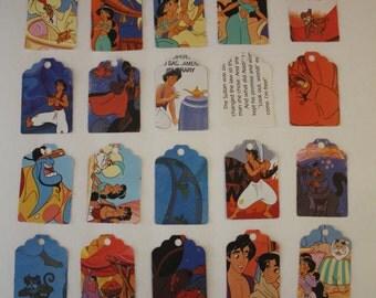 Die Cut Repurposed Children's Vintage Walt Disney Aladdin Book Tags (Set of 10)