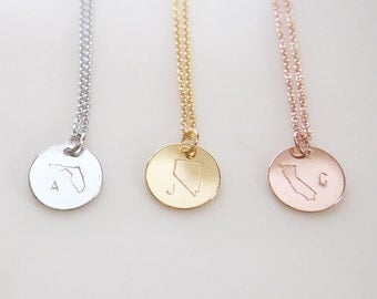Custom handwriting Personalized State Necklace Mothers day - CN