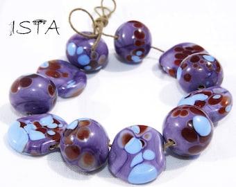 Set Glass beads. Lampwork. handmade by 'Purple Fountain'