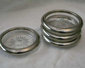Crystal and Silver Plate Coasters by Leonard made in Italy