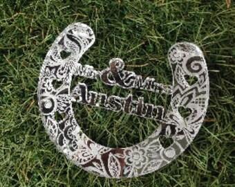 Personalised wedding lace detail horseshoe