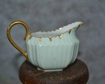 Miniature / pale green / creamer / gold trim / green / small creamer / miniature creamer / petite creamer / coffee / coffee creamer / gold