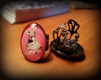 Adjustable Rabbit Cameo Ring