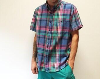 90s Mens' Rainbow Plaid Button Down Short Sleeve Shirt