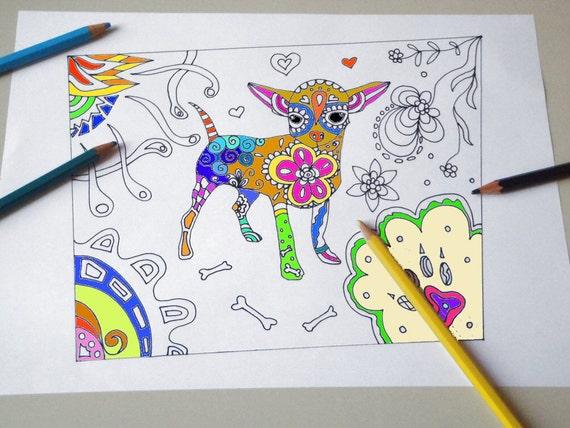 Cane chihuahua disegno da colorare bambini e adulti handbag for Cane disegno da colorare