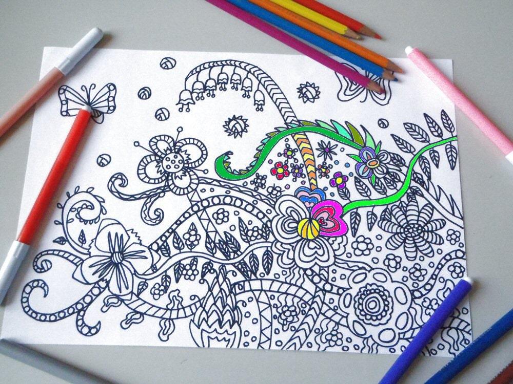 Pagina da colorare per adulti fiori e farfalle zen meditazione - Phoenix pagina da colorare ...