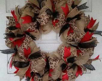 Lovely Cheetah/or Leopard Print Ribbon Wreath
