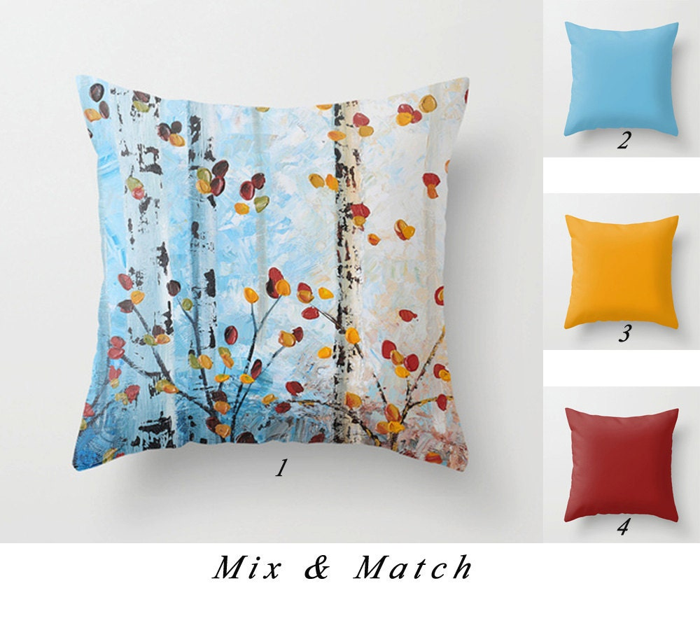 Red And Yellow Decorative Pillows : Blue Pillow Tree Pillow Red Yellow Throw Pillows Birch