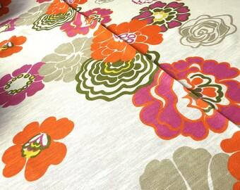 German Vintage Fabric fold 5 50 x 120 flowers Orange