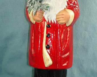 Ino Schaller Papier-mâché Santa candy container. Large 10 1/2 inches tall