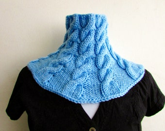KNITTING PATTERN PDF Blueberry Cabled Cowl - Knit Cabled Neckwarmer Pattern