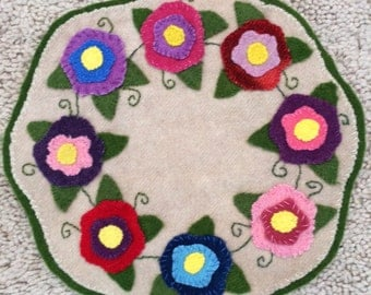 Floral Wool Penny Rug Candle Mat