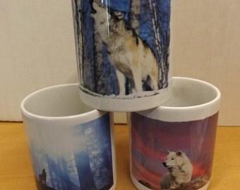 Wolf mug , wolf design on coffee cup