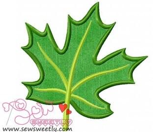 Green Maple Leaf Applique Design.