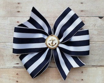 Nautical Hair bow - Anchor Hair Bow- Navy white striped hair bow - Nautical Hair bow clip-Elegant Hair Bow